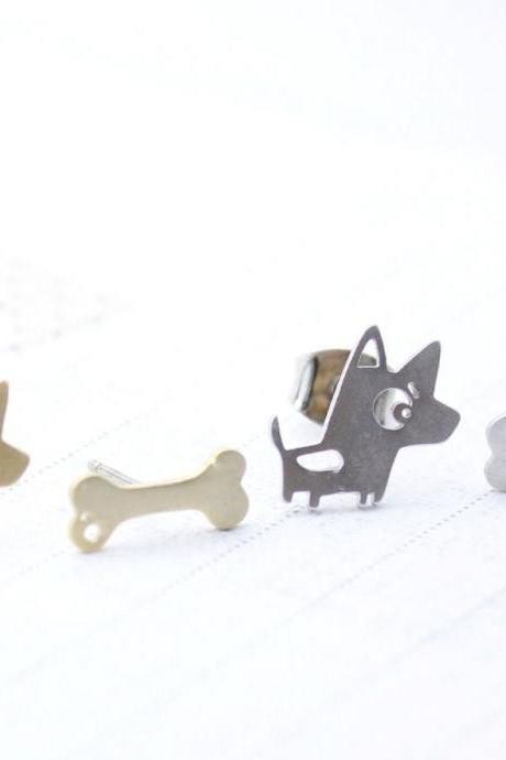 cute and unique Bow Wow Puppy and Bone post earrings( gold /silver) ,E0094S
