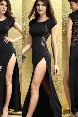 Sexy Lace Spliced Slit Hem Solid Color Maxi Dress