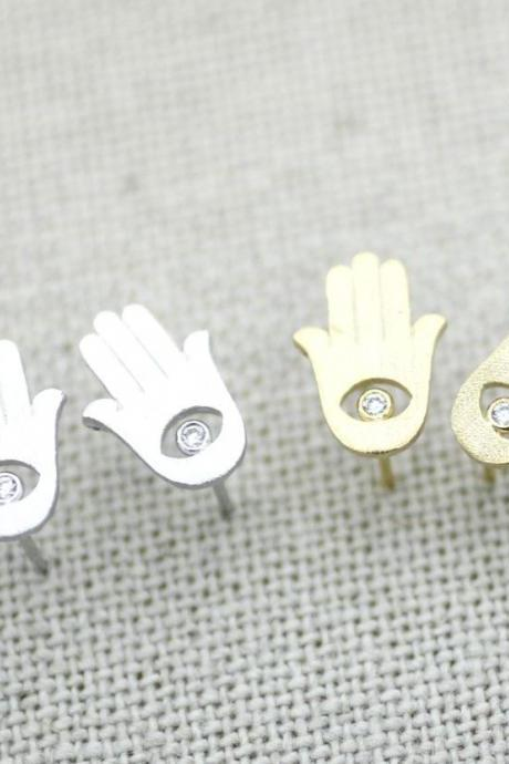 Hamsa hand Stud Earrings in gold / silver(925 sterling silver / plated over Brass), E0187G