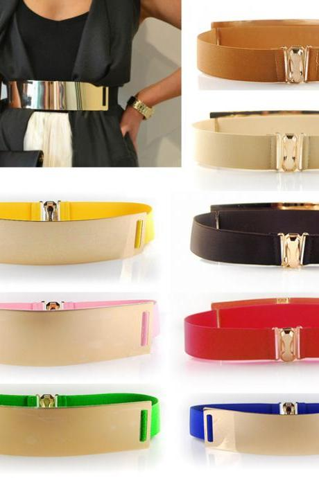 Celebrity Style Women Metal Elastic Mirror face Waist Wide Belt