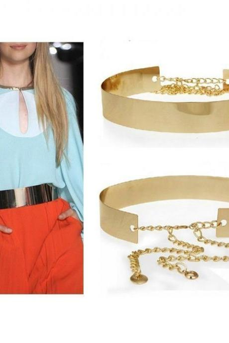 HOT New Women Golden Wide Plate Shiny Full Metal Waist Belt Waistband Mirror Chains