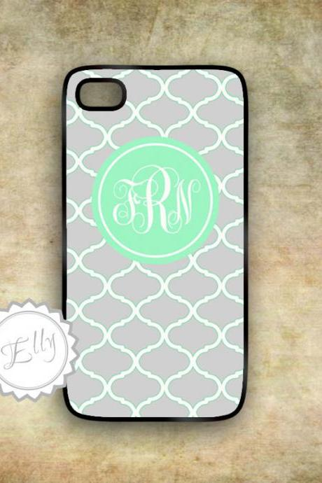 iphone case gray and mint cute monogram pattern hard case for iPhone4/4S