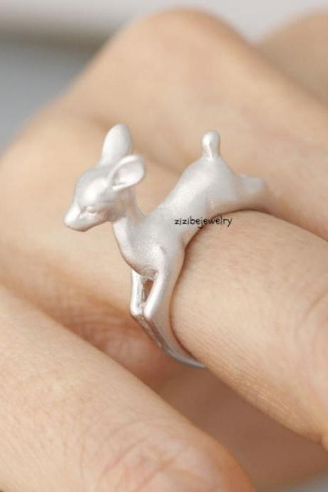 Bambi Ring, Deer ring, stag ring, reindeer ring, Elk Deer, Statement Ring in 3 colors, R0398K