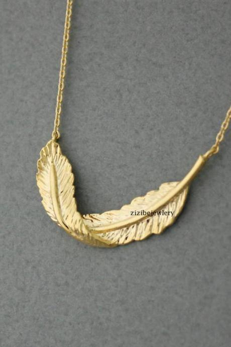 Big Feather Necklace in Gold / Silver, N0442G