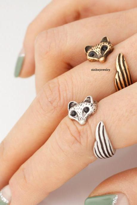 Fox ring, Fox Tail Adjustable Ring, Cute Baby Fox Adjustable Wrap Ring
