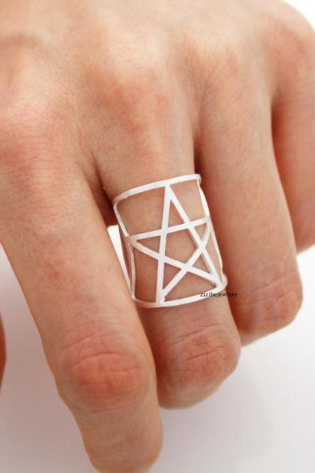 Cut-Out Open Star adjustable Ring in 2 colors, R0444G