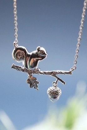 Forest Squirrel and acorn On a Branch Necklace in silver / gold