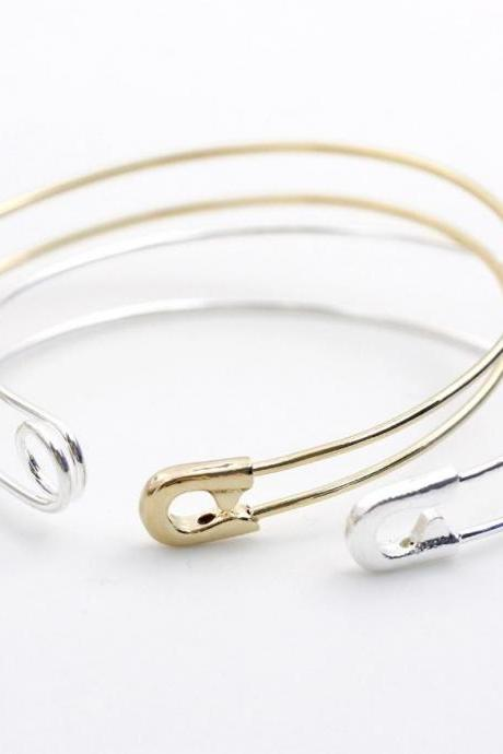 Safety Pin Bangle, Bracelet, Jewelry