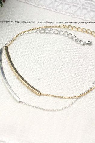 Curved Long bar bracelet in gold / silver