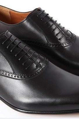 HANDMADE MEN BLACK GENUINE LEATHER SHOES, MENS BLACK DRESS SHOES, MEN SHOES