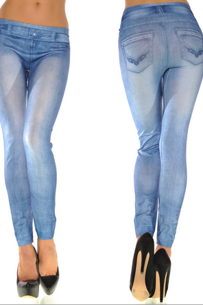 Printed Denim Leggings Denim Leggings