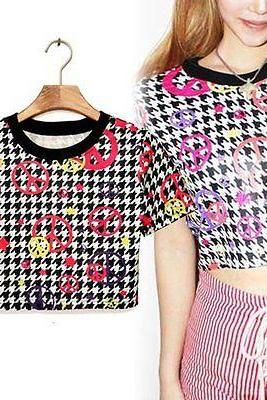 New Fashion Sexy Color Letter Women Summer Crop Top Midriff T Shirt Upper Blouse