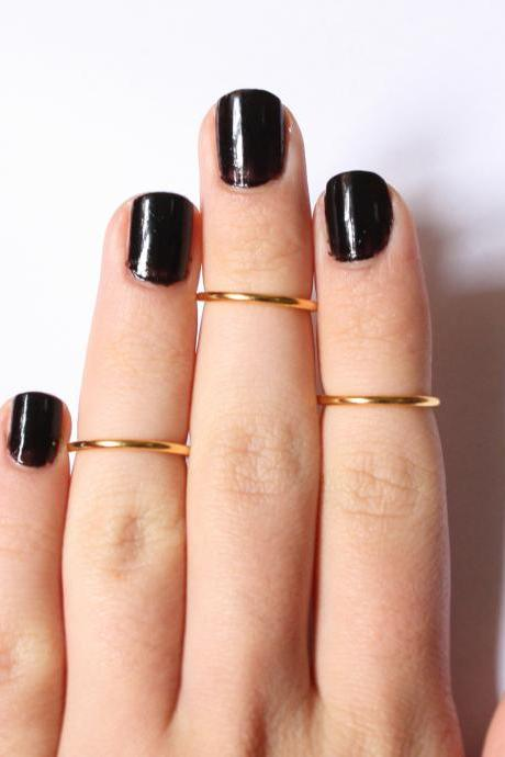 3 Above the Knuckle Gold Plated Rings set of 3 stackable mid knuckle rings