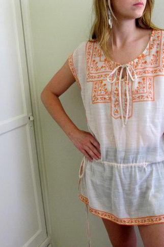 Vintage Peasant Dress Tunic See Through Embroidered White Orange Paisley Gypsy