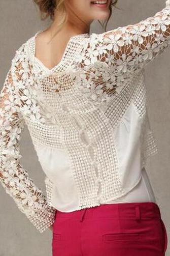 Openwork Lace Round Neck Long-Sleeved Lace Shirt
