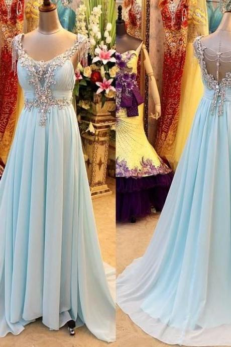 Pretty Light Blue Long Prom Dress with Beadings, Sexy Prom Dresses, Prom Dresses 2015, Formal Gown, Evening Dresses