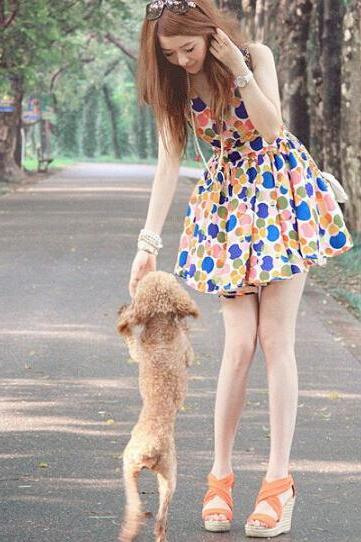 Polka Dot Vest Dress 2