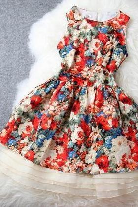 Nice Floral Silk Dress&Party Dress