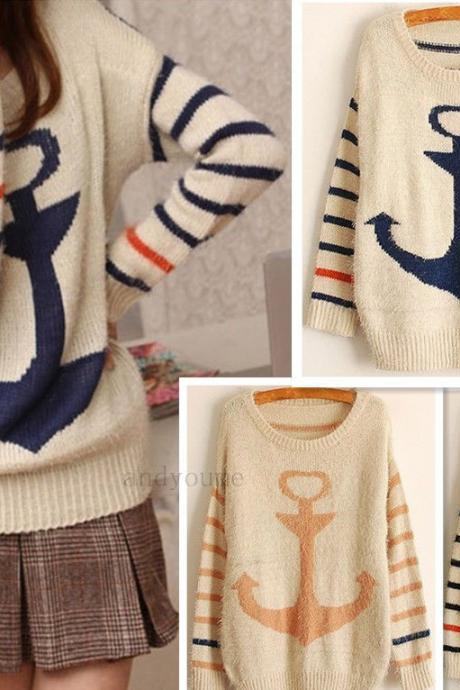 New Fashion Korea Style Women's Sweater Casual Anchor Back Thicker Plush Soft Striped Long Sweater Top