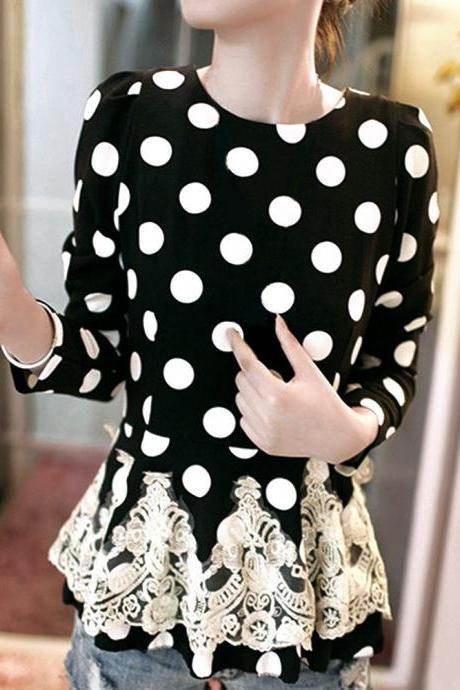 Fashion Women's Korean Style Lace Splicing Dot Waist Long Sleeve Chiffon Tops