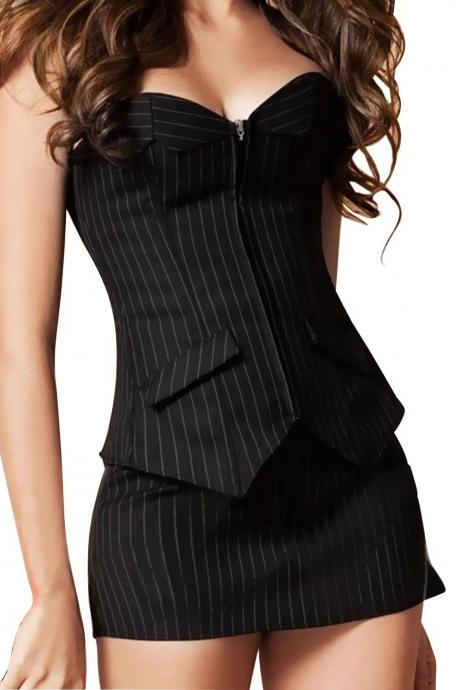 Sexy Women Ladies Slim Waist Cockatil Party Corset Dress Bustier MiniSkirt Suit