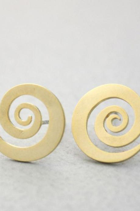 Cute Whirlpool Swirl ,Spiral stud earrings in gold / silver, E0261S