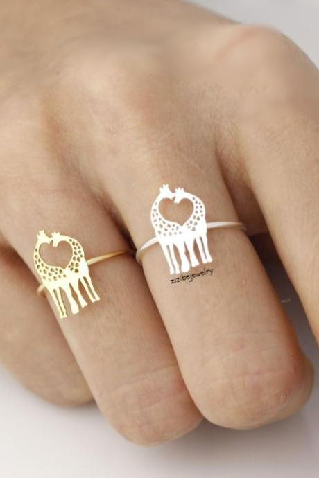 Loving Giraffe adjustable ring in silver/ gold, R0009G