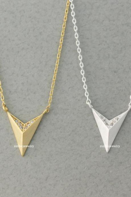 3D Triangle. Pyramid charm pendant necklace detailed with CZ in 3 colors, N0409G