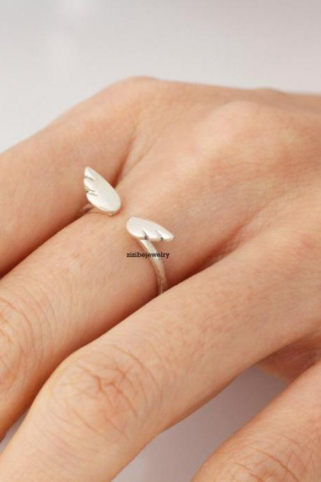 92.5 Sterling Silver Cute tiny Angel Wing ring - Adjustable Ring