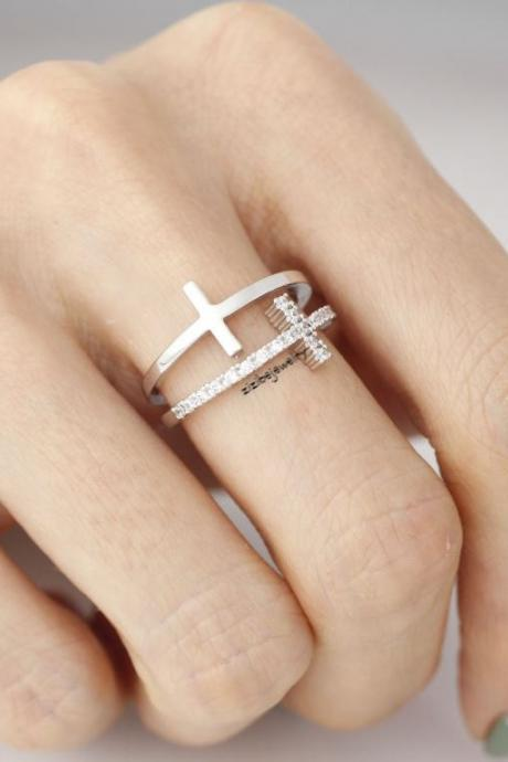 Double Sideways Cross Wrap Ring in Pink / Gold / Silver