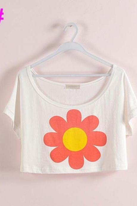 Sun flower Crop Top Summer Girl Tee