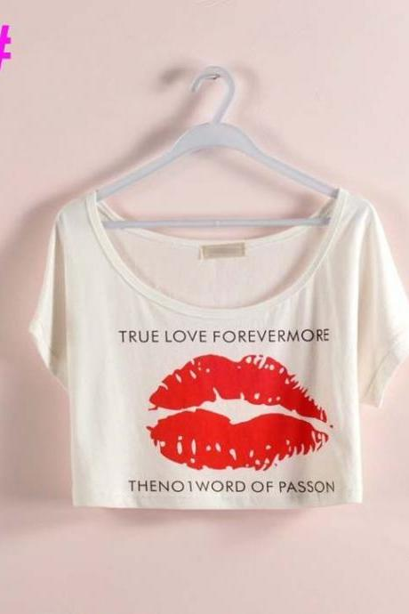 Sexy red lips Party Crop Top Summer Girl Tee