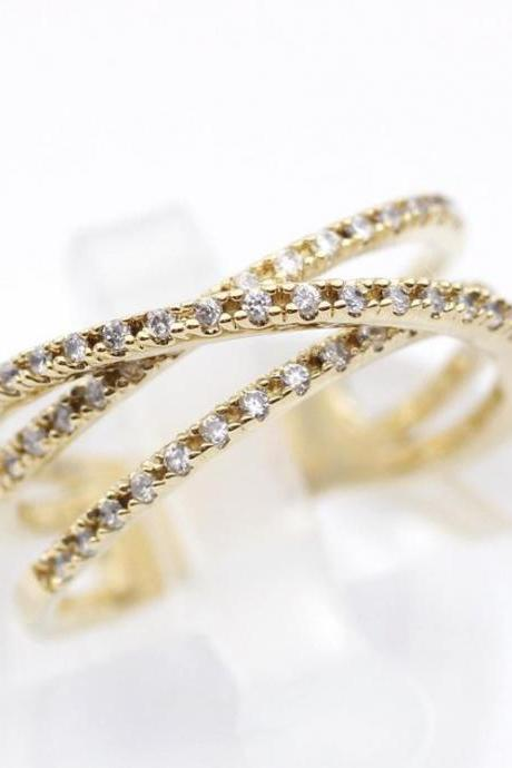 Coiled wrap Stacking Ring detailed with CZ in 3 colors