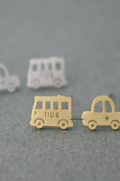 cute and unique Bus and Taxi post earrings( gold /silver), E0438S