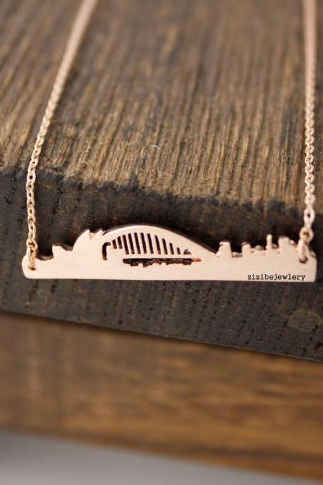 Cityscape Necklace, Skyline Necklace- Sydney Necklace, Opera House Necklace in 3 colors, N0422K