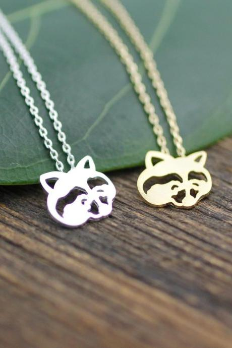 Cute Raccoon Face Pendant Necklace in gold or silver, N0065G