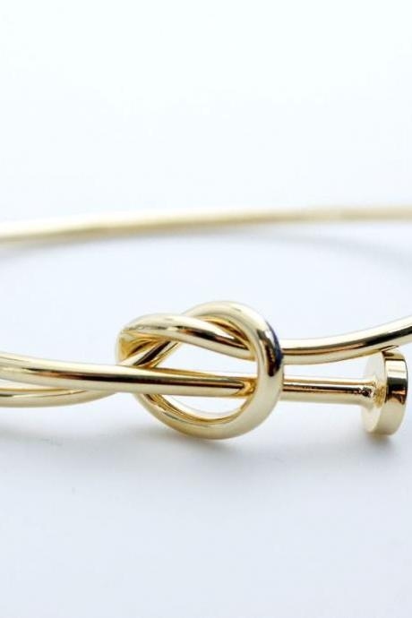 Wire Nail Heart knot Bracelet in 3 colors