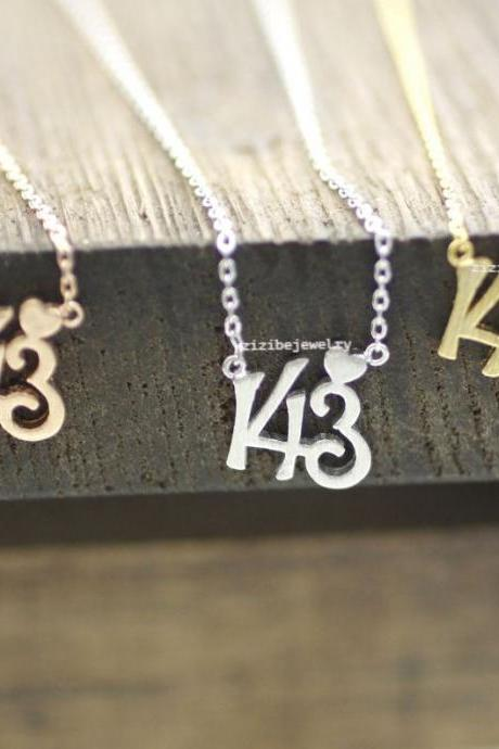 143, I LOVE YOU pendant Necklace in 3 colors, N0159K