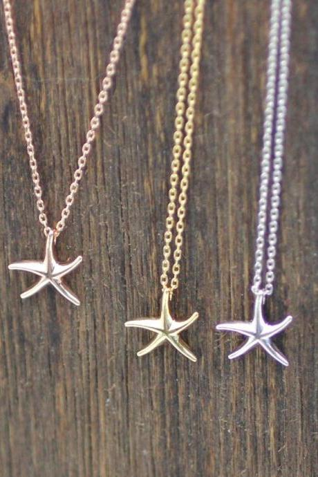 Tiny Starfish Necklace in 3 colors, N0084K