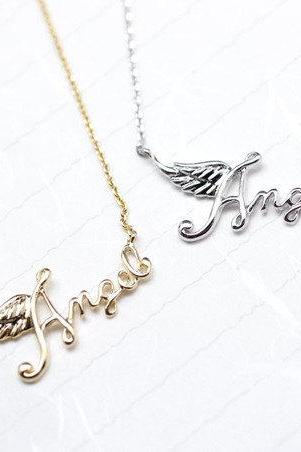 Angel Topography necklace in gold / silver