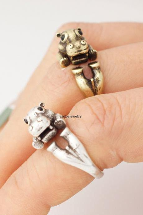 Cute Hippo Wrap adjustable Ring
