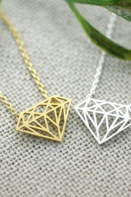 Diamond Shape Cutout pendant necklace in Gold / Silver, N0162G