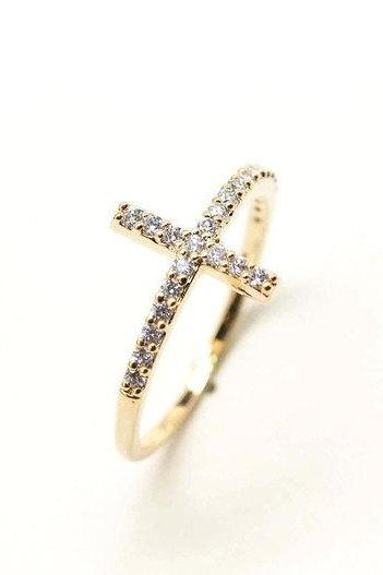 rhinestone SIDEWAYS CROSS ring in gold with swarovski crystals(Brass / 925 sterling silver )