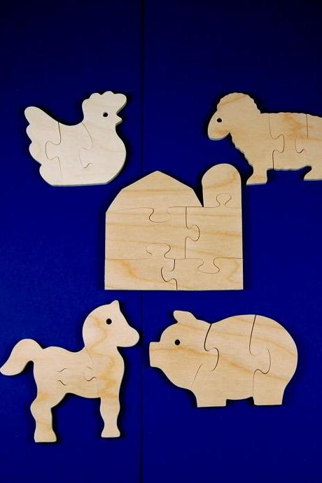 Farm Party Favors - Childrens Wood Puzzles - Package of 10 Farm Animal and Barn Puzzles - All Natural Wooden Toys - Fun for Toddler Partys
