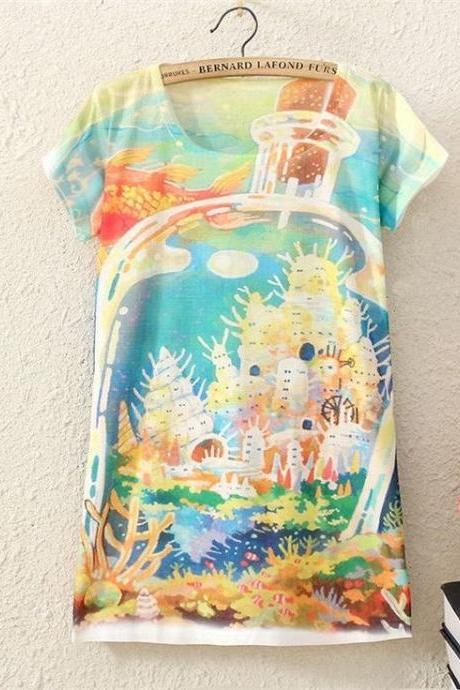 World in a bottle Print Fashion Tee Girl Top
