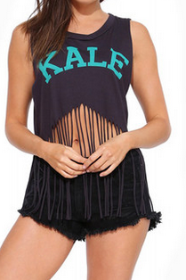 Fringed hem midriff sleeveless vest