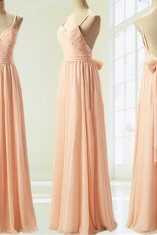 Light Pink Straps Simple Prom Dress with Bow, Simple Prom Dresses 2016, Formal Dresses, Evening Dresses