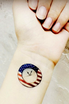 4Pcs Colored Flag Watches Tattoo Stickers