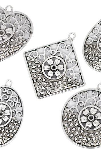 FREE SHIPPING Mixed Silver Tone Hollow Flower Charm Pendants 30x29-37x34mm, sold per packet of 10