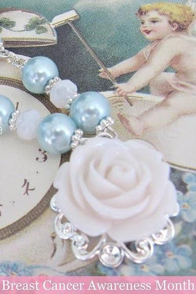Blue necklace and matching blue earrings. Romantic Jewelry